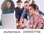 multiracial group of students... | Shutterstock . vector #1055037746