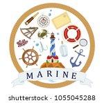 vector poster on theme of sea... | Shutterstock .eps vector #1055045288