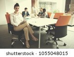 business woman with her staff ... | Shutterstock . vector #1055048015