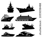 ships and boats icons. barge ... | Shutterstock .eps vector #1055058488