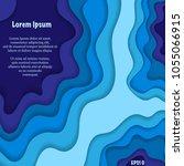 abstract blue cut paper...   Shutterstock .eps vector #1055066915