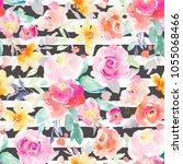 Stock photo modern painted seamless flower background pattern with peonies and roses perfect for fabric 1055068466