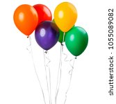 six balloons isolated on a... | Shutterstock . vector #1055089082