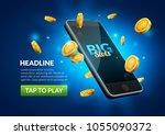 mobile casino slot game. flying ...   Shutterstock .eps vector #1055090372