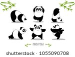 panda yoga  set of yoga poses ... | Shutterstock .eps vector #1055090708