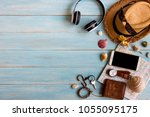 men's summer accessories casual ... | Shutterstock . vector #1055095175