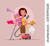 multitasking super mother... | Shutterstock .eps vector #1055095328