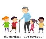 illustration of stickman kids... | Shutterstock .eps vector #1055095982