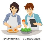 illustration of teen gay couple ... | Shutterstock .eps vector #1055096006