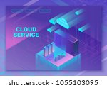 cloud service 3d isometric...