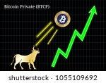 gold bull  throwing up bitcoin... | Shutterstock .eps vector #1055109692
