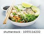 poke bowl with silken tofu ...   Shutterstock . vector #1055116232
