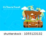 it s time to travel.trip to... | Shutterstock .eps vector #1055123132