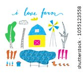 hand drawn card about farm.... | Shutterstock .eps vector #1055123558