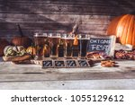 craft beer flight  halloween... | Shutterstock . vector #1055129612