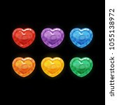 set of 6 colors glossy heart...