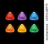 set of 6 colors glossy triangle ...