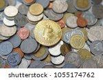bitcoin on thai baht coins   Shutterstock . vector #1055174762