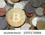 bitcoin on thai baht coins   Shutterstock . vector #1055176886