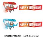 flying aircraft with happy... | Shutterstock .eps vector #105518912