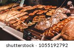 variety of delicious breads ... | Shutterstock . vector #1055192792