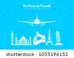 it s time to travel.trip to... | Shutterstock .eps vector #1055196152