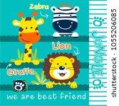zebra giraffe and lion funny... | Shutterstock .eps vector #1055206085