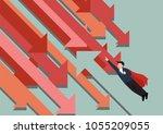 super man flying against trend. ...   Shutterstock .eps vector #1055209055