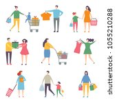 shopping people. happy family.... | Shutterstock .eps vector #1055210288