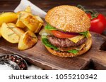 tasty grilled home made burger...   Shutterstock . vector #1055210342