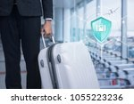 shield protection travel on... | Shutterstock . vector #1055223236