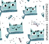 seamless pattern with cats and .... | Shutterstock .eps vector #1055239442