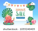 cute red octopus on the green... | Shutterstock .eps vector #1055240405