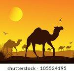 caravan of camels in africa ... | Shutterstock .eps vector #105524195