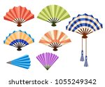 set of wooden hand fan .opened... | Shutterstock .eps vector #1055249342