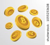crypto currency golden 3... | Shutterstock .eps vector #1055253638