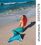 mermaid girl with red hair and... | Shutterstock . vector #1055257178