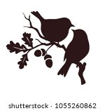 pare of birds sitting on twig... | Shutterstock .eps vector #1055260862