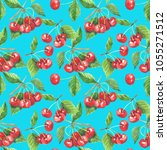 seamless pattern with cherry...   Shutterstock . vector #1055271512