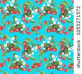 seamless pattern with cherry... | Shutterstock . vector #1055271572