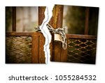 ripped photo of a rusty metal... | Shutterstock . vector #1055284532
