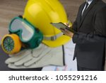 construction safety hard safety ... | Shutterstock . vector #1055291216
