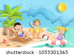 paper art style of kids having... | Shutterstock .eps vector #1055301365