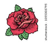 tattoo rose flower.tattoo ... | Shutterstock .eps vector #1055303795
