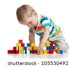 kid playing toy blocks ...   Shutterstock . vector #105530492