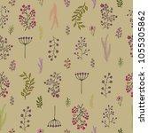 vector vintage seamless floral...   Shutterstock .eps vector #1055305862