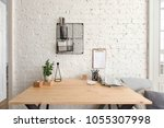 office table with supplies... | Shutterstock . vector #1055307998