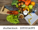 healthy eating food low carb...   Shutterstock . vector #1055316395