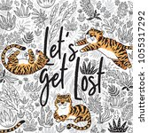 let's get lost. quote. contour... | Shutterstock .eps vector #1055317292
