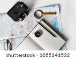 making a travel plan. map ...   Shutterstock . vector #1055341532